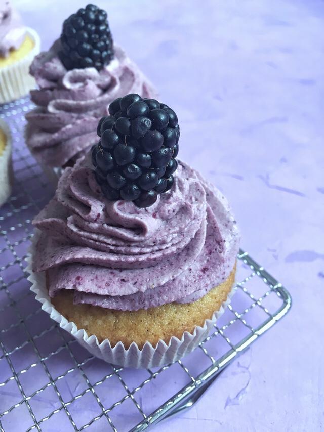 Vanilla Cupcakes with Blackberry Mascarpone Frosting